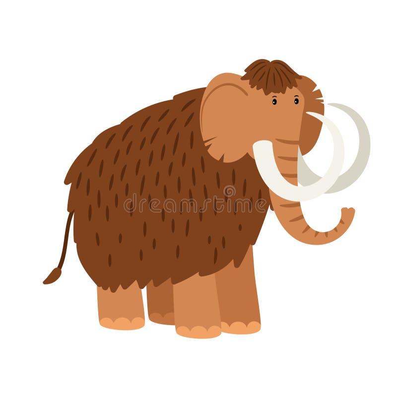Mammoth dos desenhos animados isolado no fundo branco ilustração royalty free