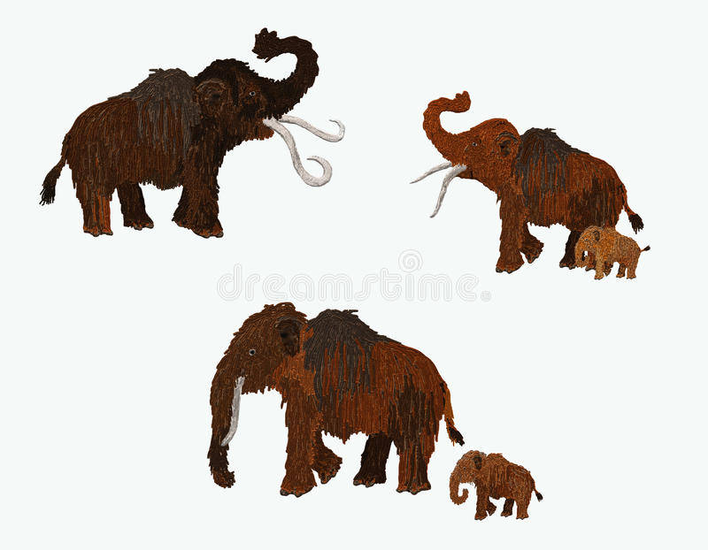 Mammoth family stock images