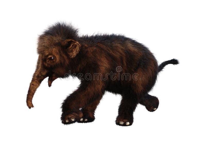 Mammoth felpudo do bebê da rendição 3D no branco ilustração do vetor