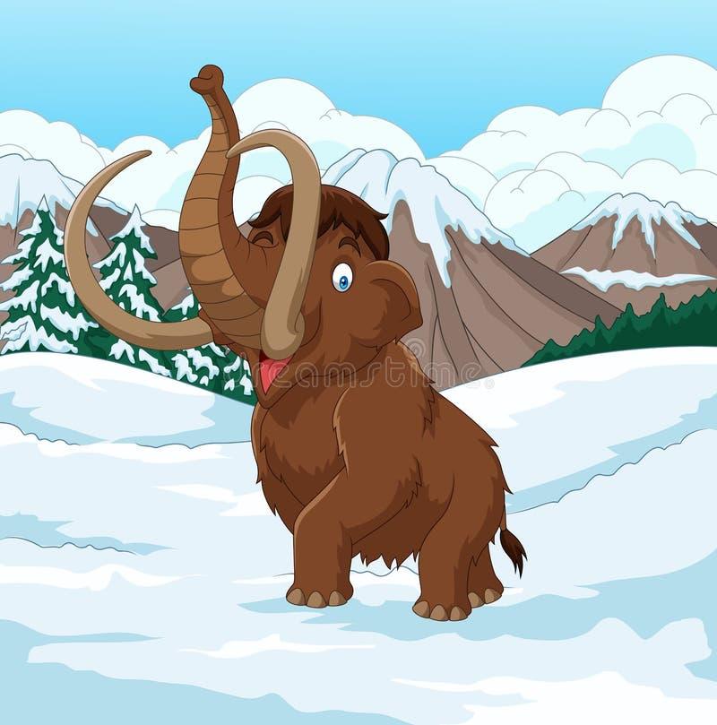 Mammoth felpudo dos desenhos animados que anda através de um campo nevado ilustração royalty free