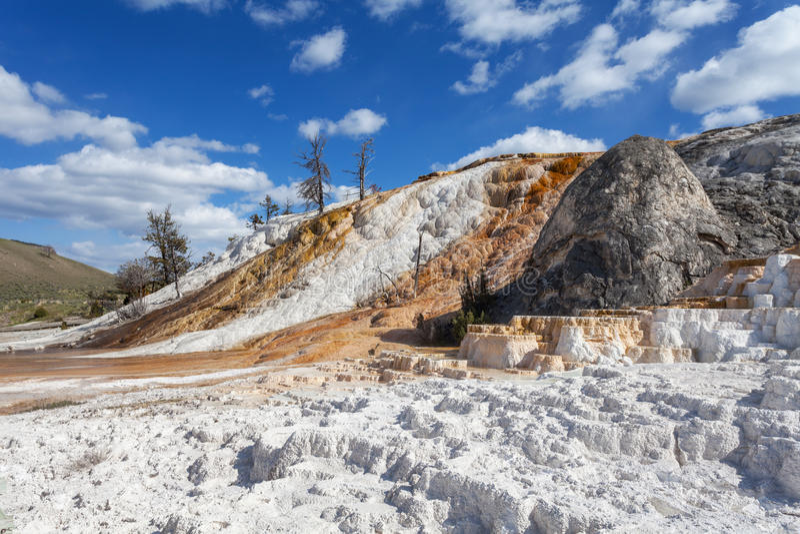 Mammoth Hot Springs, Йеллоустон, Вайоминг, США стоковое изображение rf