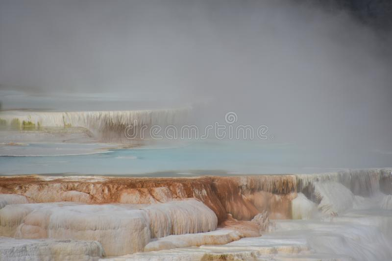 Mammoth Hot Springs au stationnement national de Yellowstone photos stock
