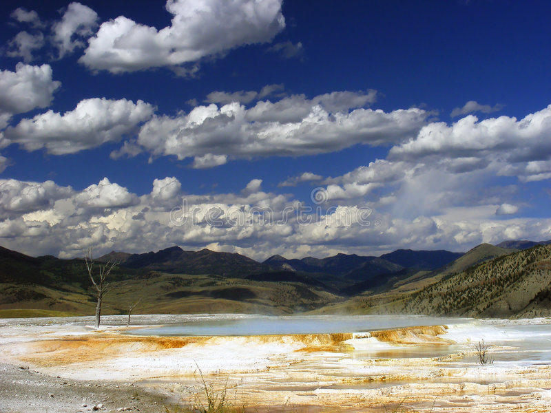 Download Mammoth Hot Springs In Yellowstone Stock Photo - Image of haze, geology: 6195666