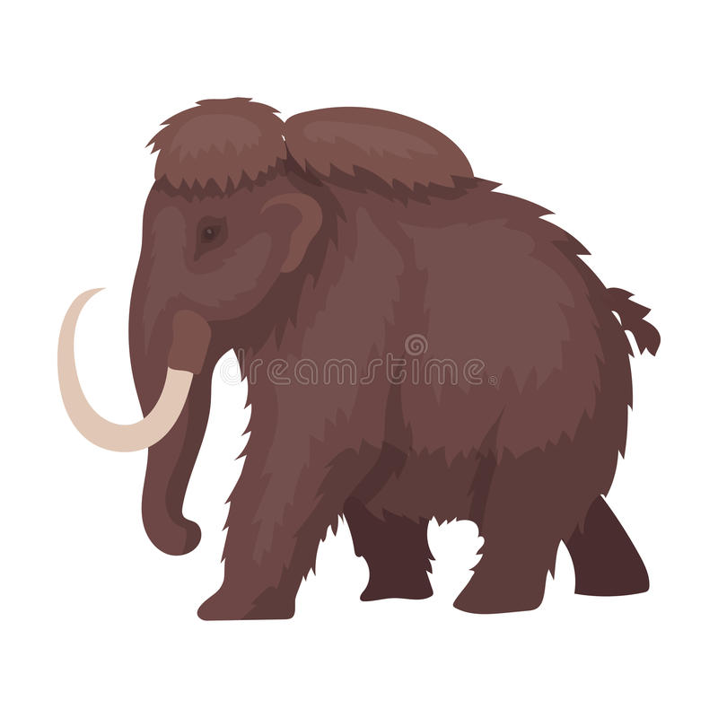 Mammoth icon in cartoon style isolated on white background. Dinosaurs and prehistoric symbol stock vector illustration. stock illustration