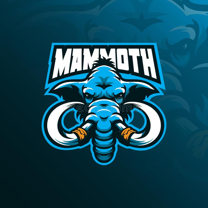 Mammoth mascot logo design vector with modern illustration concept style for badge, emblem and tshirt printing. mammoth head stock illustration