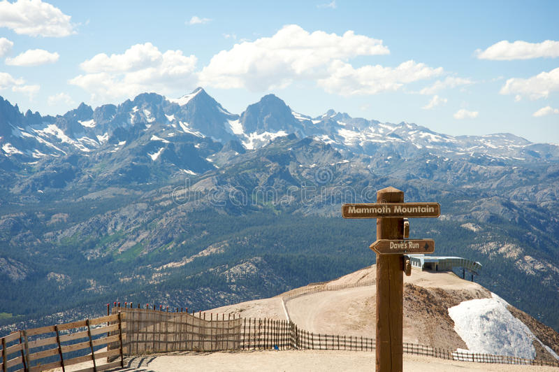 Mammoth Mountain. Panoramic from the top of Mammoth Mountain, California during summer stock photography