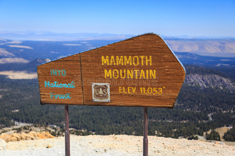 Mammoth Mountain, California. Sign indicating the top of Mammoth Mountain in California, USA royalty free stock photography