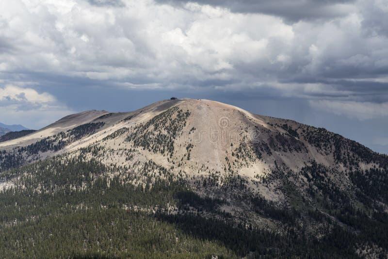 Mammoth Mountain California. Summer thunderstorms forming over Mammoth Mountain in Californias Sierra Nevada stock photos