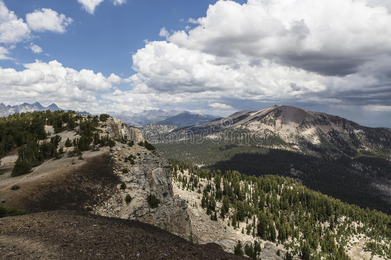 Mammoth Mountain Summer View. View towards Mammoth Mountain from the Mammoth Crest Trail in California's Sierra Nevada Mountain Range royalty free stock photo