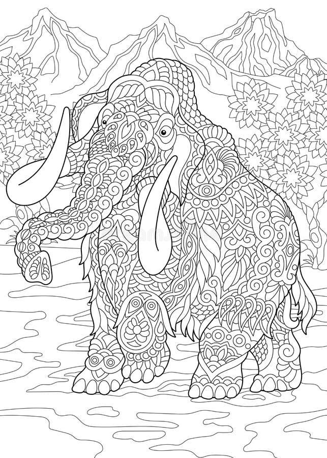 Mammoth pré-histórico de Zentangle ilustração stock