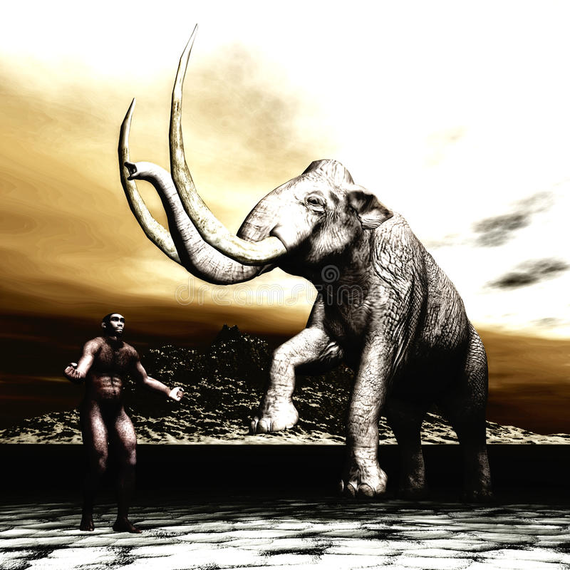 Mammoth with prehistoric man royalty free illustration