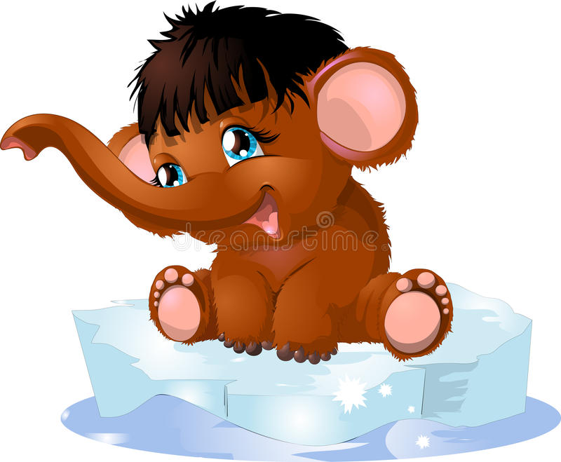 Mammoth. Small mammoth on an ice floe royalty free illustration