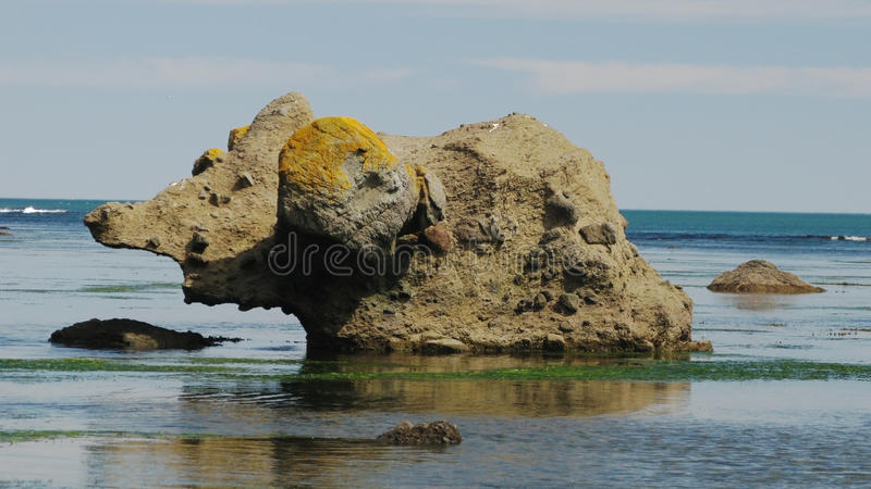 Mammouth en pierre, baie de Tikhaya, Sakhaline photo stock