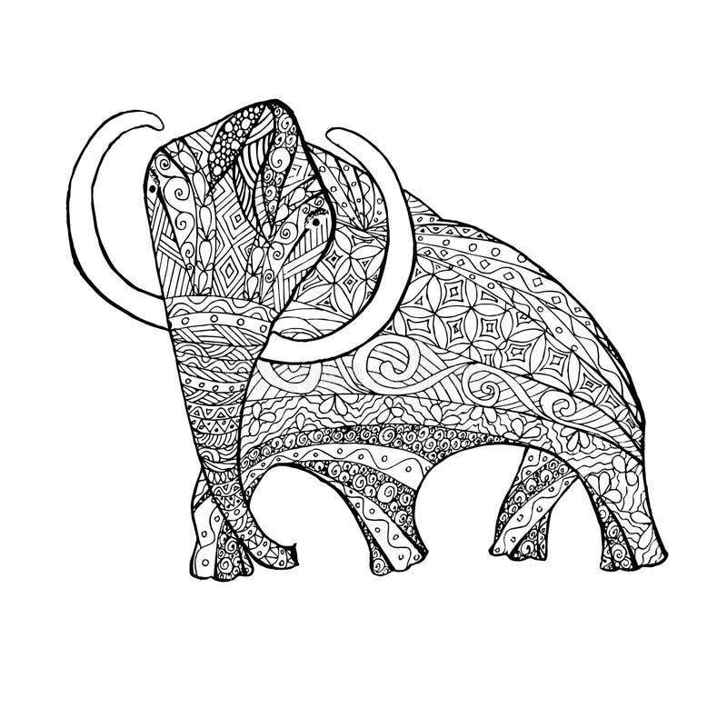 Mammouth monochrome de croquis de style de Zentangle, page de coloration illustration stock