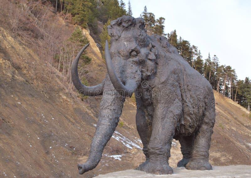 Mammut ambulante contro il precipizio fotografia stock