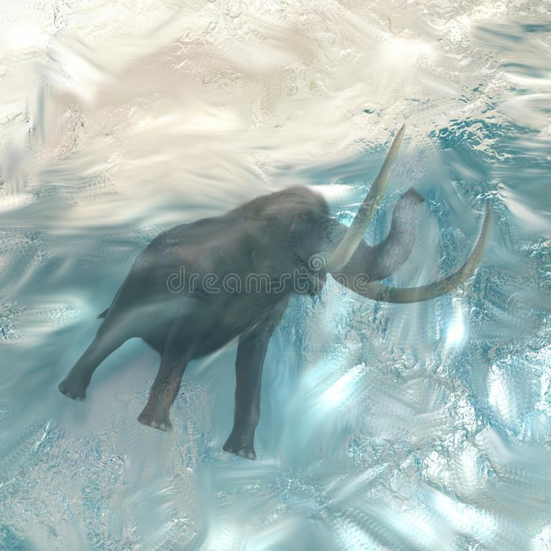 Mammut di era glaciale congelato su un iceberg illustrazione di stock