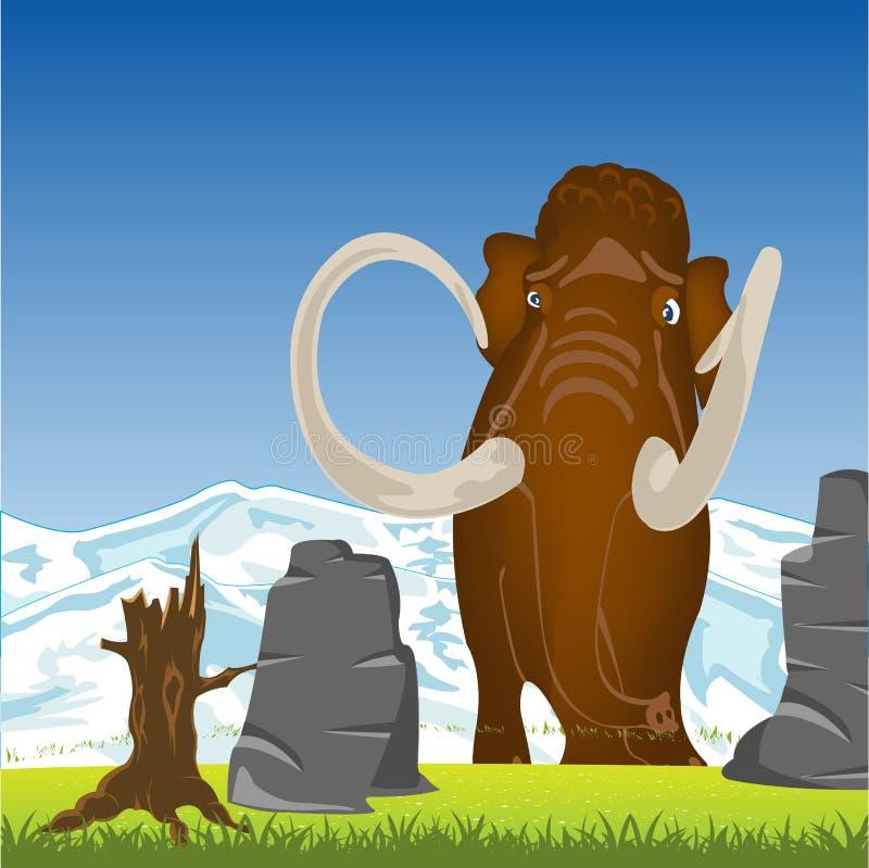 Mammut sulla radura Mammut animale preistorico sulla radura verde royalty illustrazione gratis