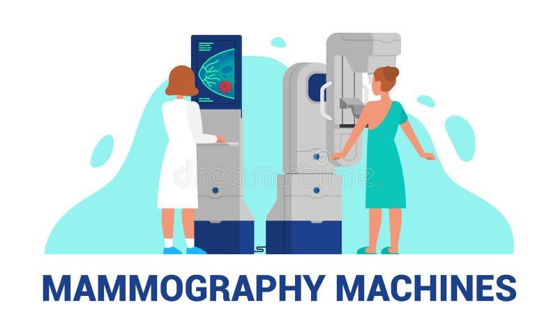 A mamografia faz à máquina a ilustração do vetor do diagnóstico do peito ilustração royalty free