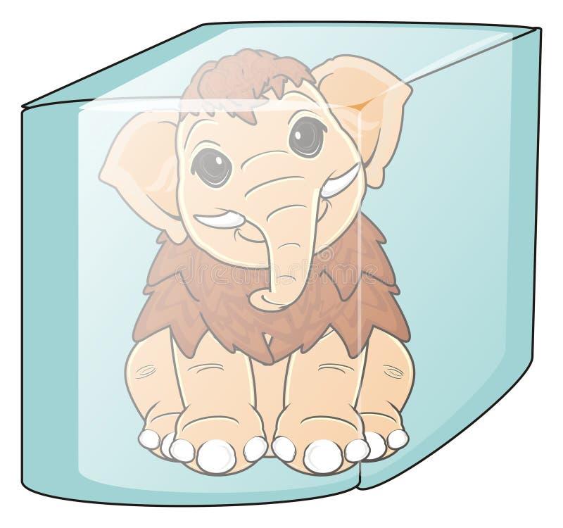 Mamoth congelado no cubo ilustração stock