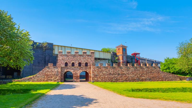 Mamucium, ancien fort romain dans la région de Castlefield à Manchester, R-U photographie stock