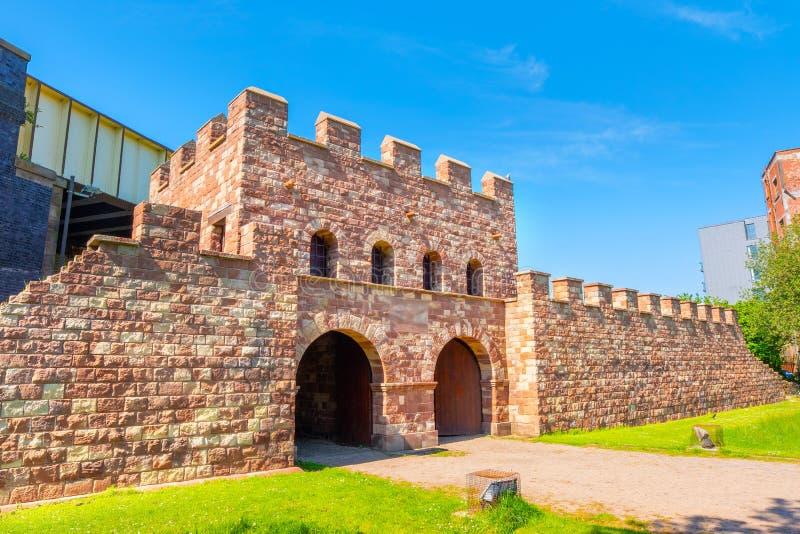 Mamucium, ancien fort romain dans la région de Castlefield à Manchester, R-U image stock