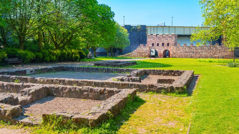 Mamucium, ancien fort romain dans la région de Castlefield à Manchester, R-U image libre de droits