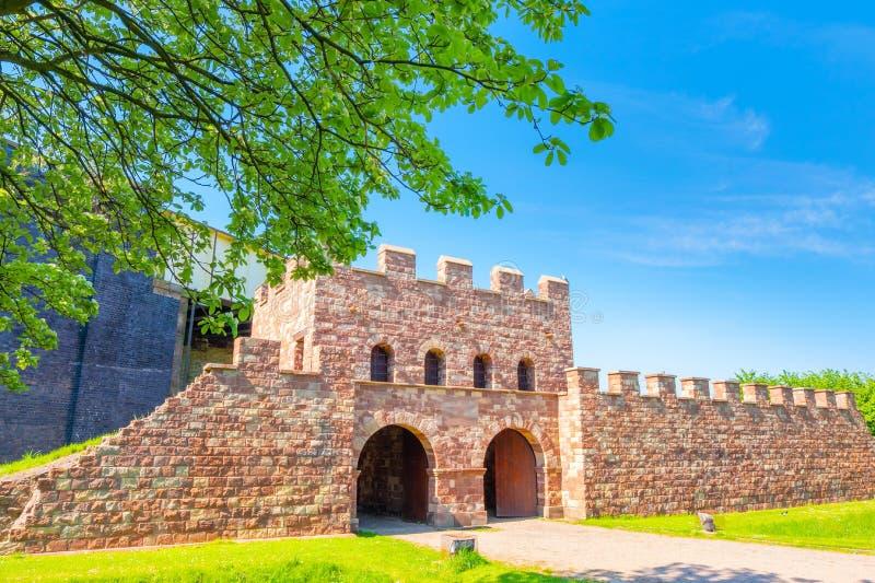 Mamucium, ancien fort romain dans la région de Castlefield à Manchester, R-U photos stock