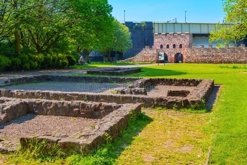 Mamucium, ancien fort romain dans la région de Castlefield à Manchester, R-U photographie stock libre de droits