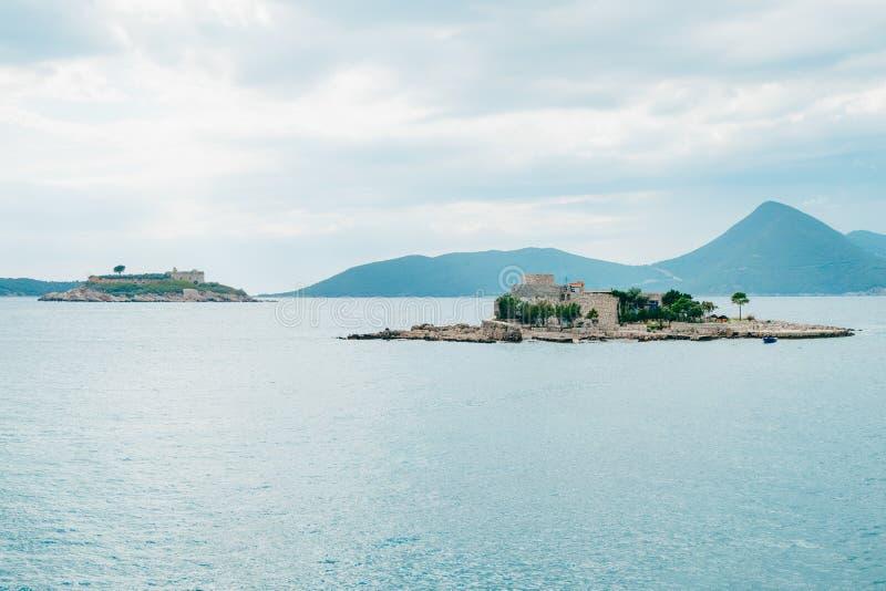 Mamula海岛,一个前集中营在黑山,广告 库存图片