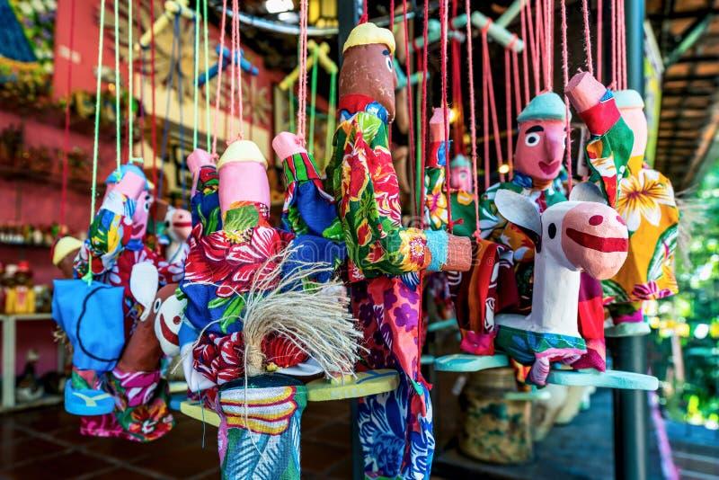 Mamulengo docka i Olinda, Penambuco, brasiliansk folklore arkivfoton