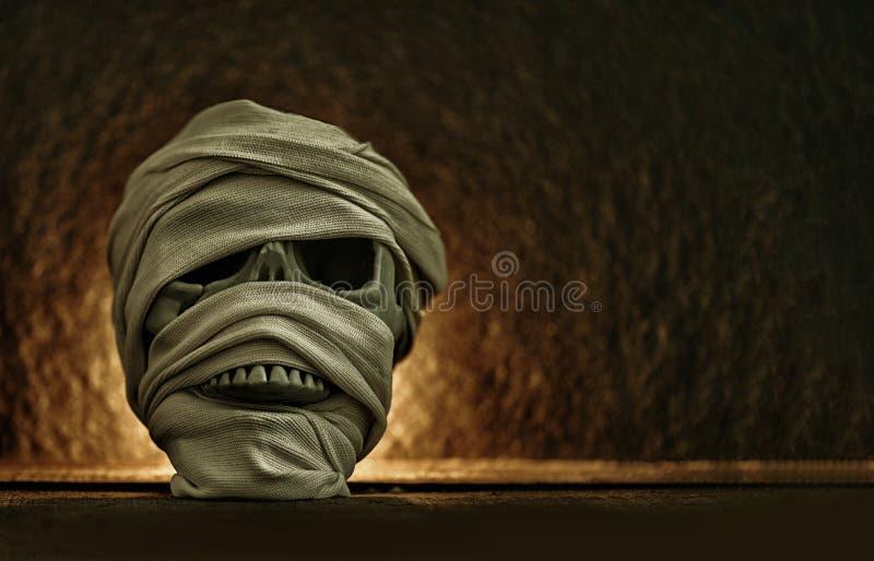 Mamusia zakrywaj?ca odziewa w czaszce dekoruj?cej przy Halloween cosplay royalty ilustracja