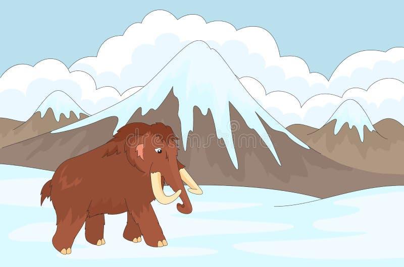 Mamut en el fondo de una naturaleza prehistórica stock de ilustración