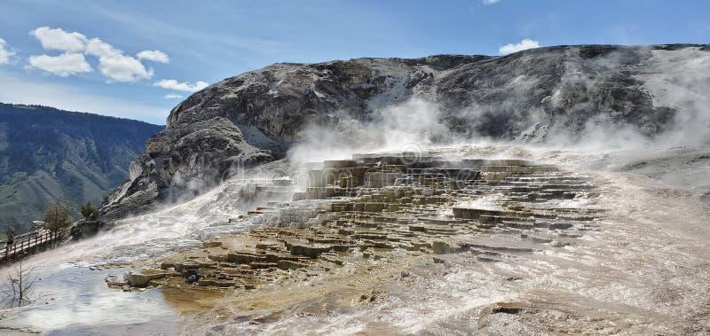 Mamut Hot Springs en el Parque Nacional Yellowstone fotos de archivo