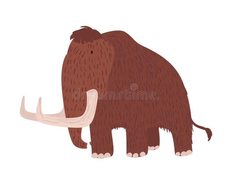 Mamut lanoso lindo aislado en el fondo blanco Animal extinto magnífico, criatura prehistórica gigante, herbívora stock de ilustración