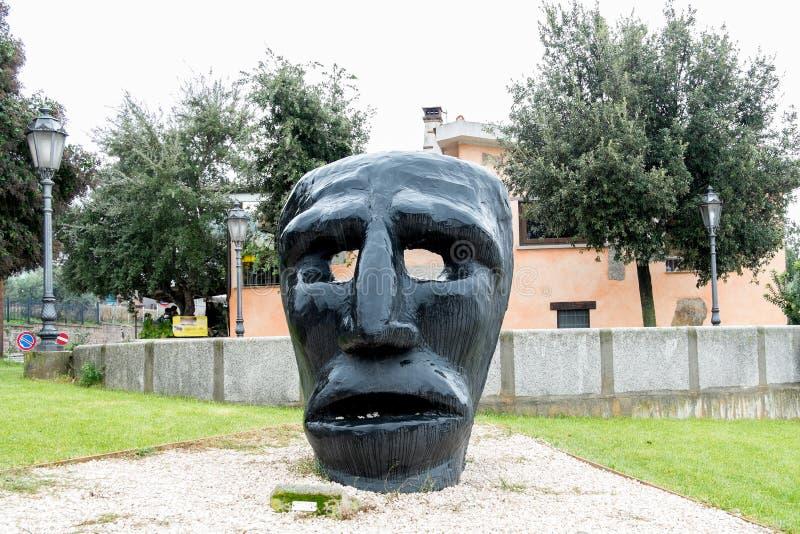 Mamuthones mask sculpture stock photo