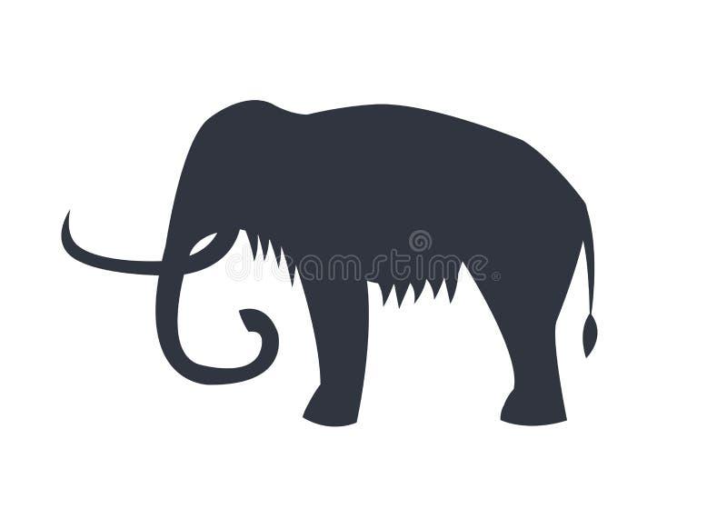 Mamutowa sylwetka Odizolowywająca na Białym tle royalty ilustracja
