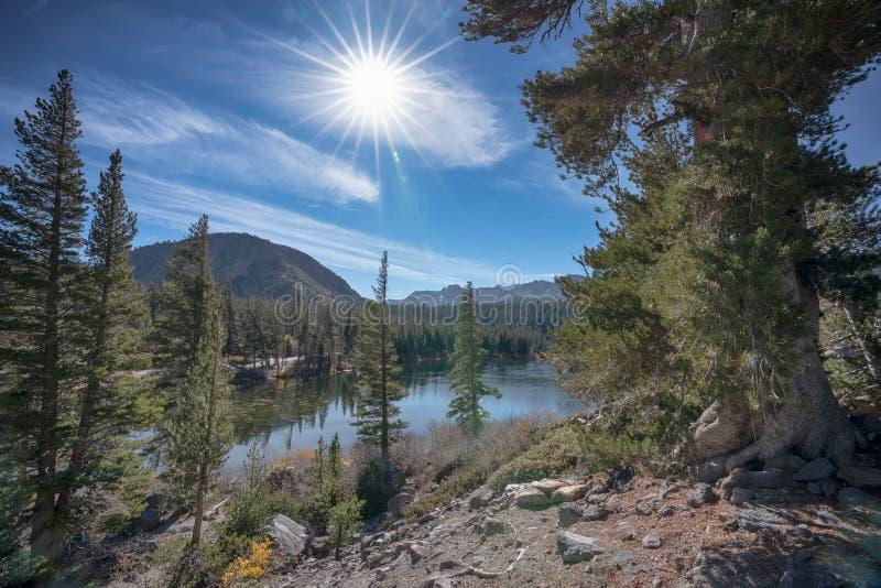 Mamutowi jeziora podczas słonecznego dnia w Kalifornia obrazy stock