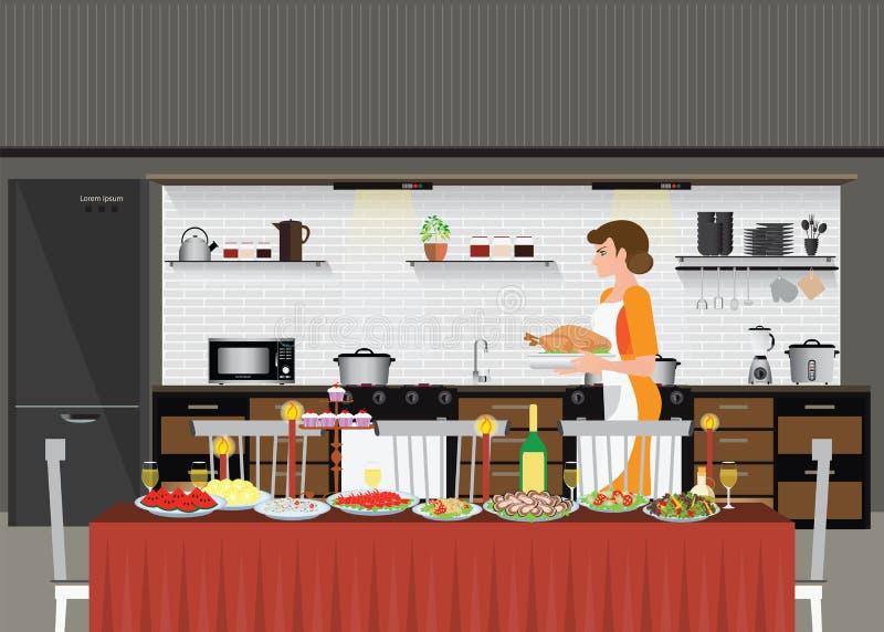 Mamy kobiety kucharstwo w kuchennym narządzania jedzeniu dla partyjnego gościa restauracji ilustracja wektor