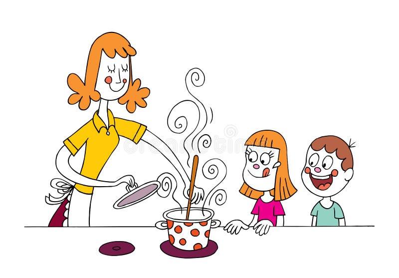 Mamy kucharstwo dla dzieciaków royalty ilustracja