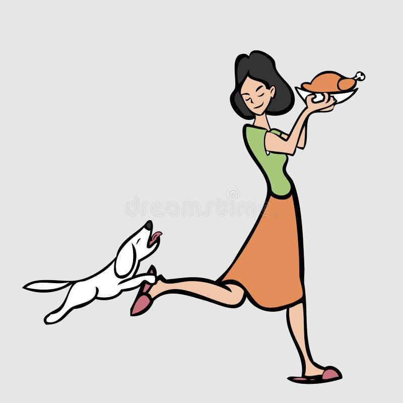 Mamy utrzymania jedzenie od psa ilustracja wektor