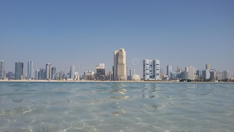 Mamzar Beach, Dubai, UAE. royalty free stock photography