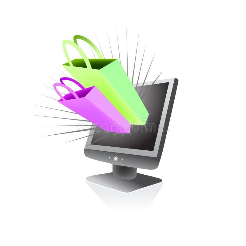 Manía en línea de las compras del almacén stock de ilustración