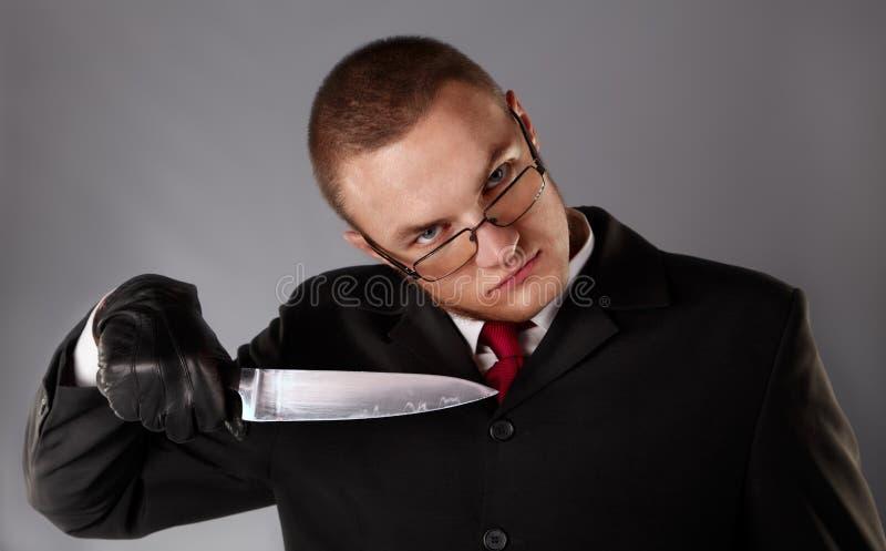 Maníaco com faca imagens de stock