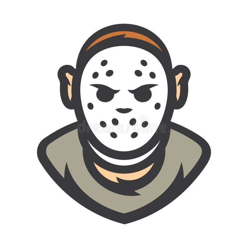 Maníaco louco Máscara de Dia das Bruxas Ilustração dos desenhos animados do vetor ilustração royalty free