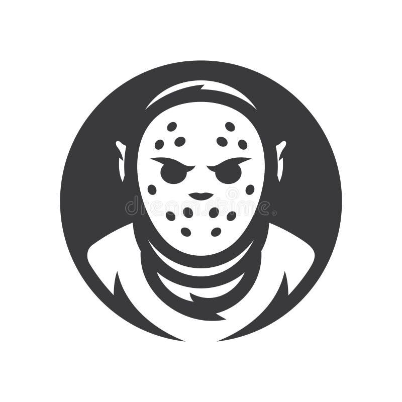 Maníaco louco Máscara de Dia das Bruxas Sinal da silhueta do vetor ilustração stock