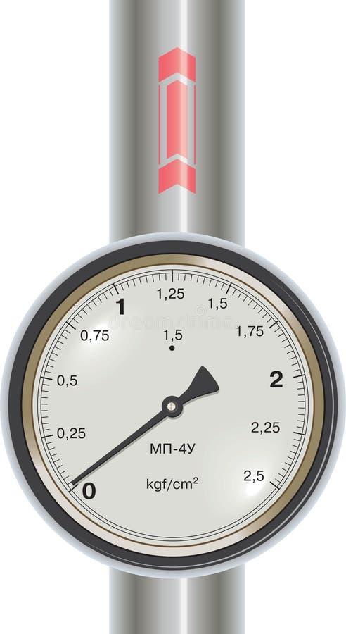 Manómetro de gás do vetor com tubulação ilustração royalty free