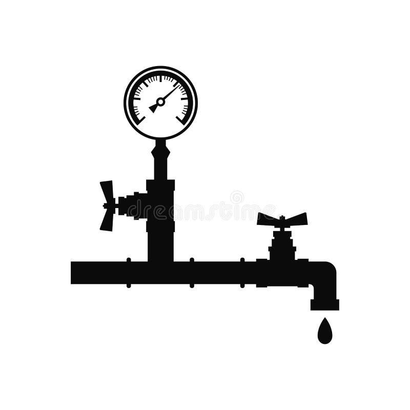 Manómetro en un tubo con un vector del negro del icono del golpecito Diseño plano aislado en el fondo blanco libre illustration