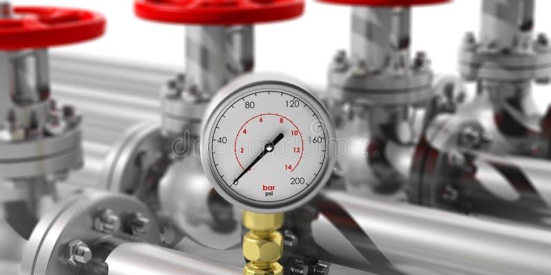 Manómetro industrial en fondo de las tuberías y de las válvulas de la falta de definición ilustración 3D stock de ilustración