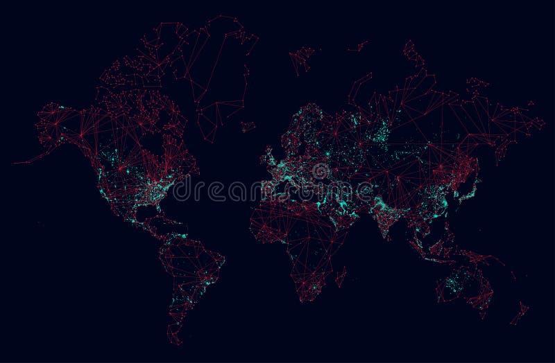 Manöverenhet för global anslutning för science fictionvärldskarta futuristisk vektor illustrationer