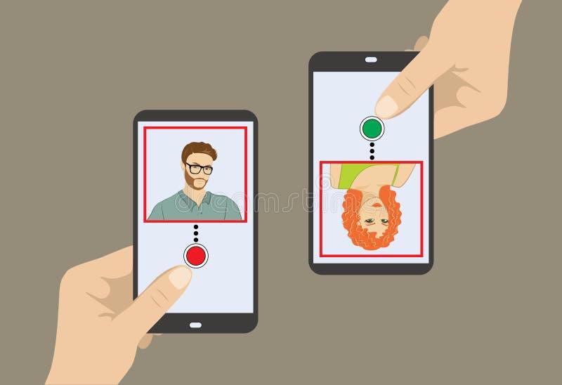 Manöverenhet för två smartphone med profil för två gullig tecken stock illustrationer